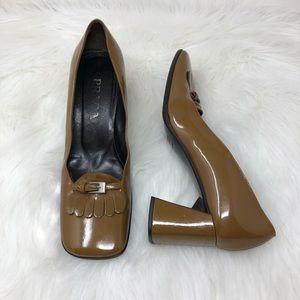 Prada Squared Buckle Heels